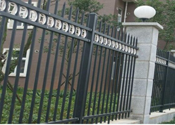 China Three Beams Zinc Steel Fence Single Ring For Bounding Wall , 50*50mm Rail supplier