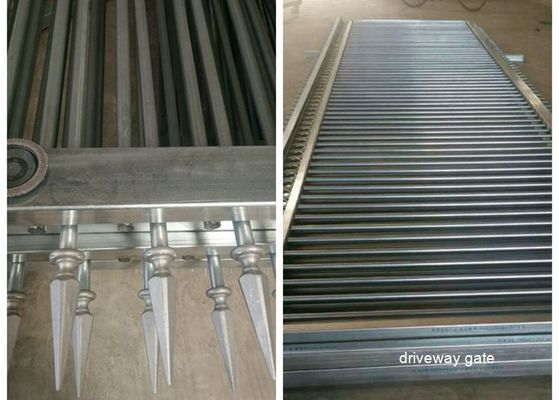 China Decorated Top Steel Sliding Automatic Driveway Gates Security For Community supplier