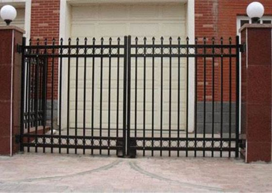 China Double Swing Metal Automatic Driveway Gates Zinc Plated For House / Villa supplier