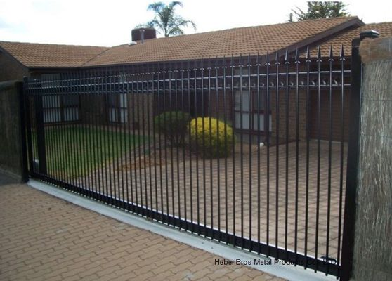 China Countryard Driveway Sliding Gate 1.8m*2.4m , Black Powder Coated Finished supplier