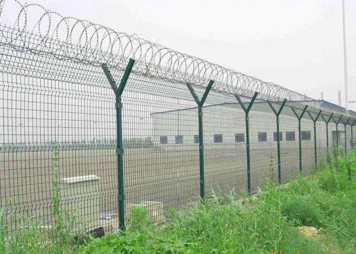 Y Post 3D Curved Airport Security Fencing , Welded Wire Mesh Fence ...