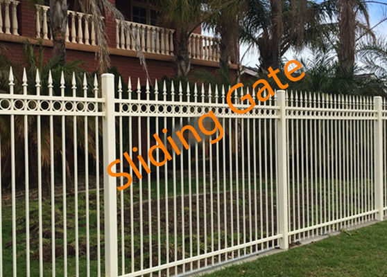 Decorative Courtyard Automatic Driveway Gates , Electric Metal Gates Heat Treated