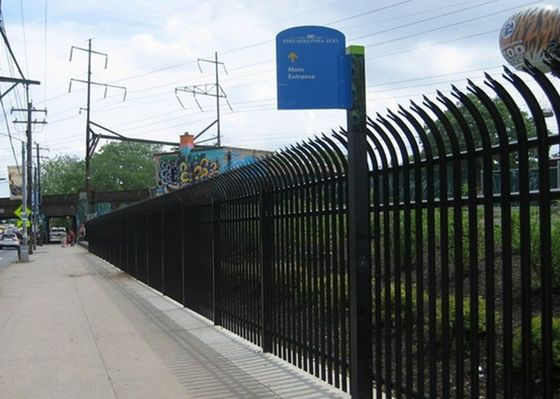 PVC Coated Bend Top Metal Palisade Fencing For Residential Sites / Eco Friendly