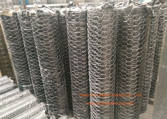 "1 / 4"" Galvanized Hexagonal Gabion Wall Mesh 0.5 - 2.5m Width For Poultry Netting"