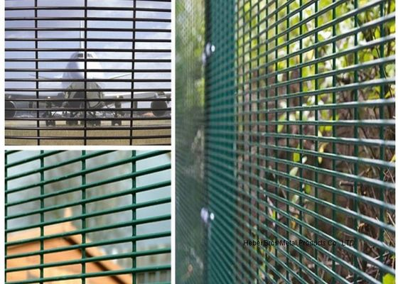 "PVC Coated High Security Steel Wire Fencing Wire Fence Panel  4mm wire 3""*1/2"" Hole For Prison"
