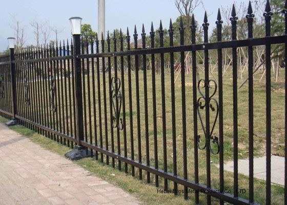 Powder Coated Security Picket Tubular Steel Fence , Ornamental Fence Panels