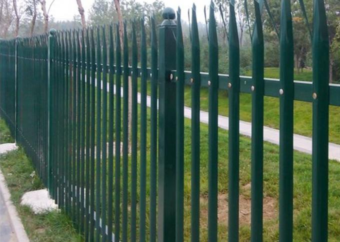 PVC Coated Metal Palisade Fence Panels European Style For Road / Railway
