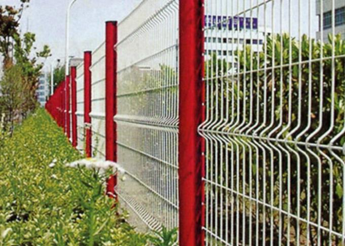 Peach Shape Powder Coated Wire Mesh With Folds / White 3d Fence Panel