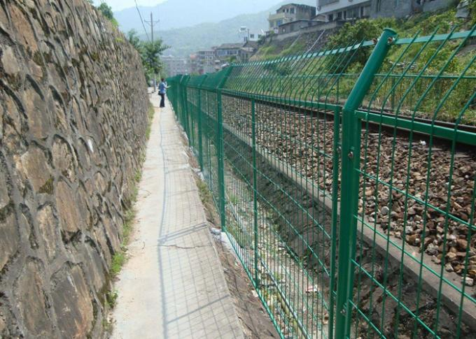 Green Powder Coated Steel Wire Fencing Security For Highway , 48mmx1.0mm Size