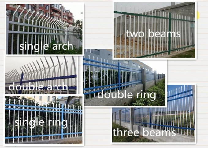 Three Beams Zinc Steel Fence Single Ring For Bounding Wall , 50*50mm Rail