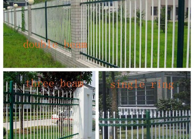 Powder Coated Zinc Steel Fence Three Beam For Industrial Park , 50*50mm Rail