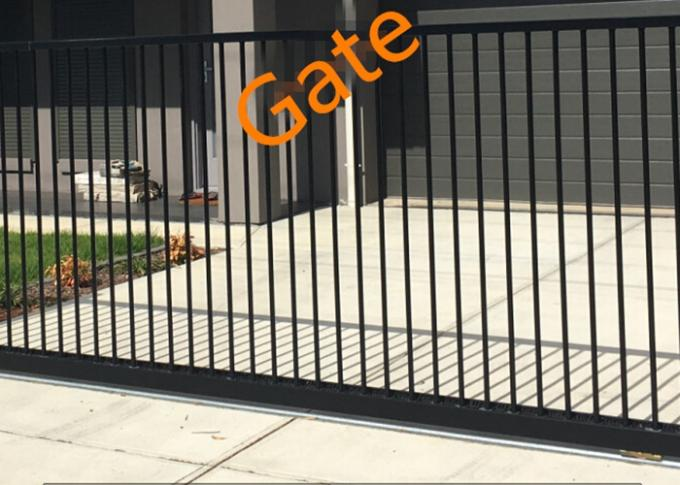 Flat Top Electric Entrance Gates , Automatic Fence Gate Remote Control
