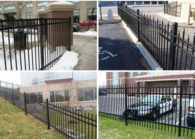 Decorative Spear Top Security Zinc Steel Fencing , Metal Three Rails