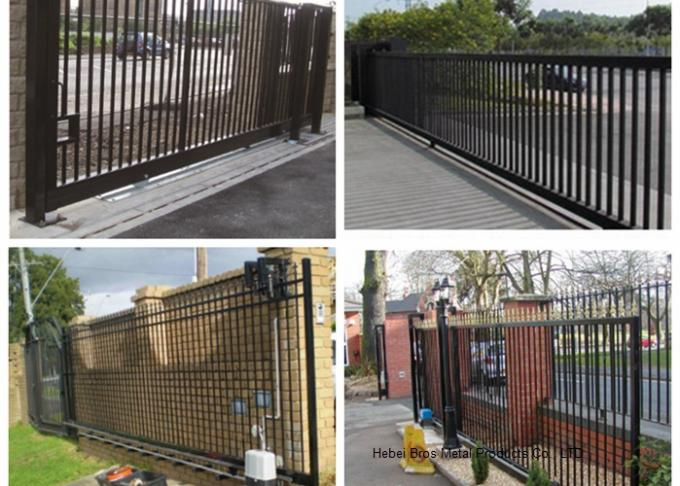 Countryard Driveway Sliding Gate 1.8m*2.4m , Black Powder Coated Finished