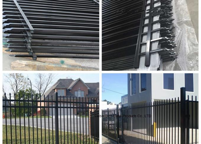 PVC Coated Ornamental Spear Top Security Steel Tubular Fence in Garden , Villa